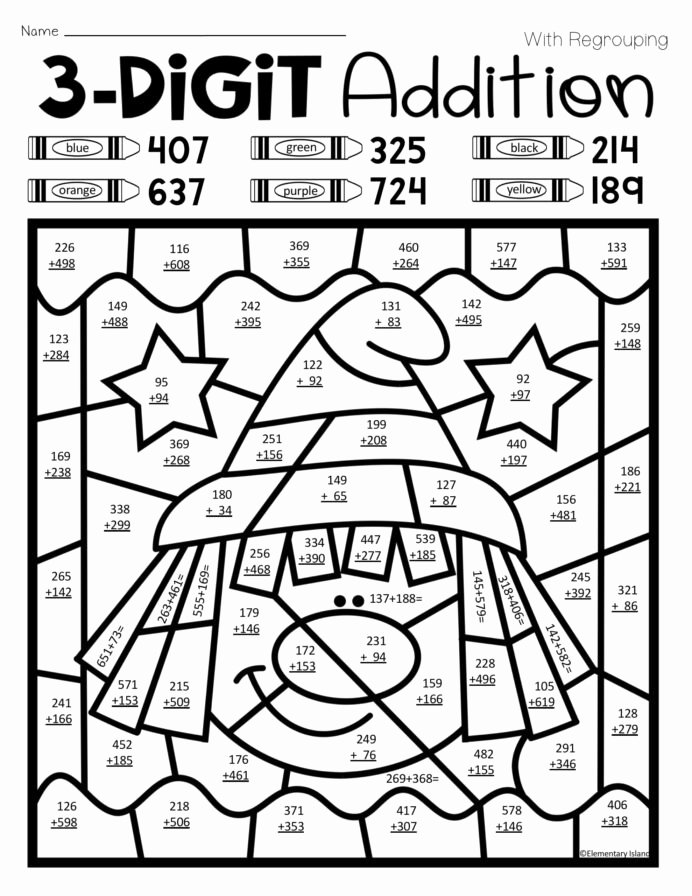 Multiplication Worksheets for 1st Graders New Halloween Three Digit Addition Color by 1st Grade Math