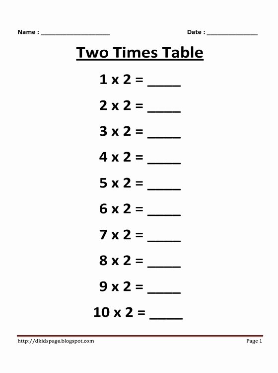 Multiplication Worksheets for 2 Times Tables Fresh Kids Page 2 Times Multiplication Table Worksheet
