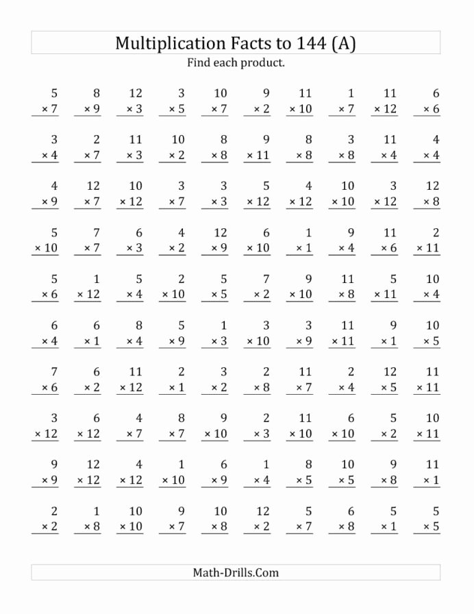 Multiplication Worksheets for 4th Grade Unique Multiplication Facts to No Zeros Math Worksheet Free