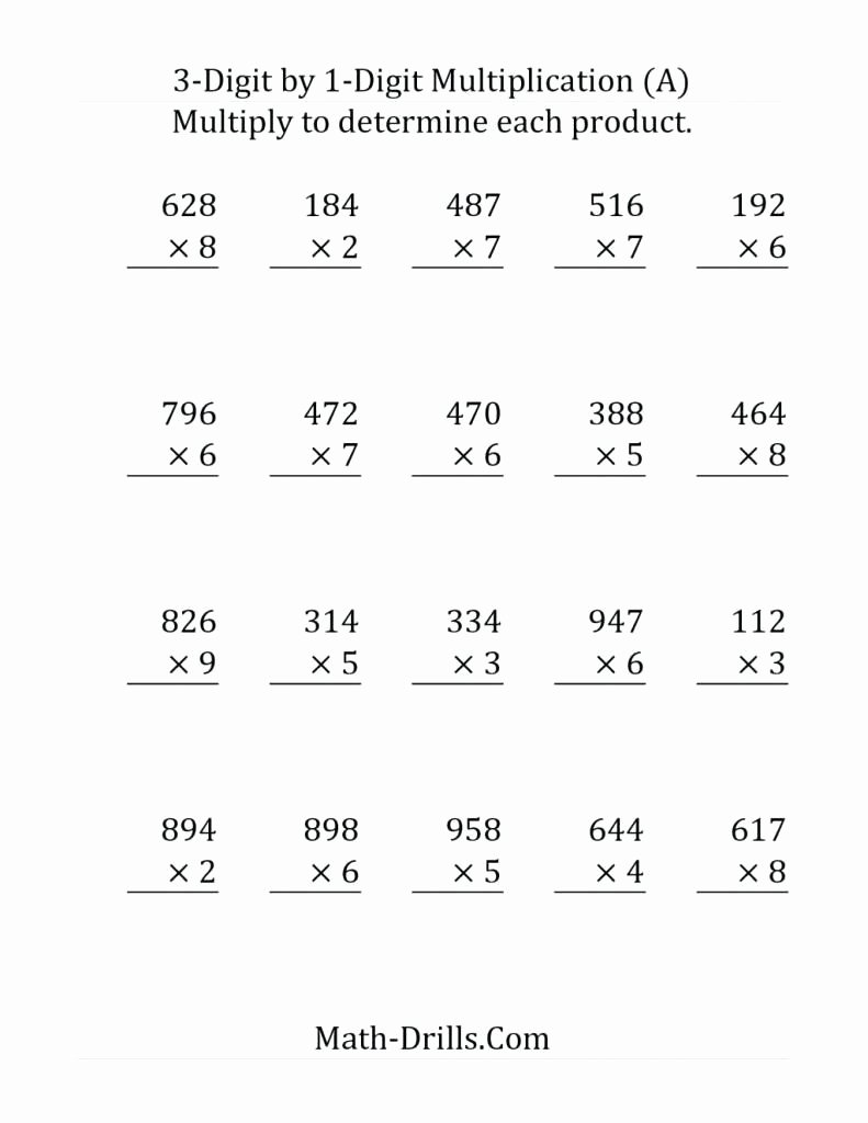 Multiplication Worksheets for 5th Grade Unique 5th Grade Multiplication Worksheets