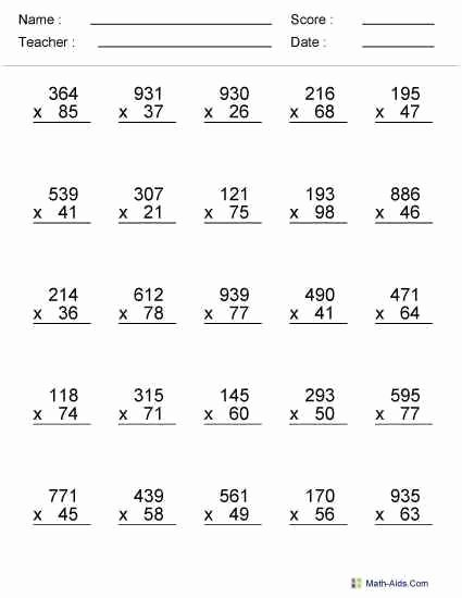 Multiplication Worksheets for 6th Grade Lovely 9 6th Grade Math Worksheets Free Templates In 2020