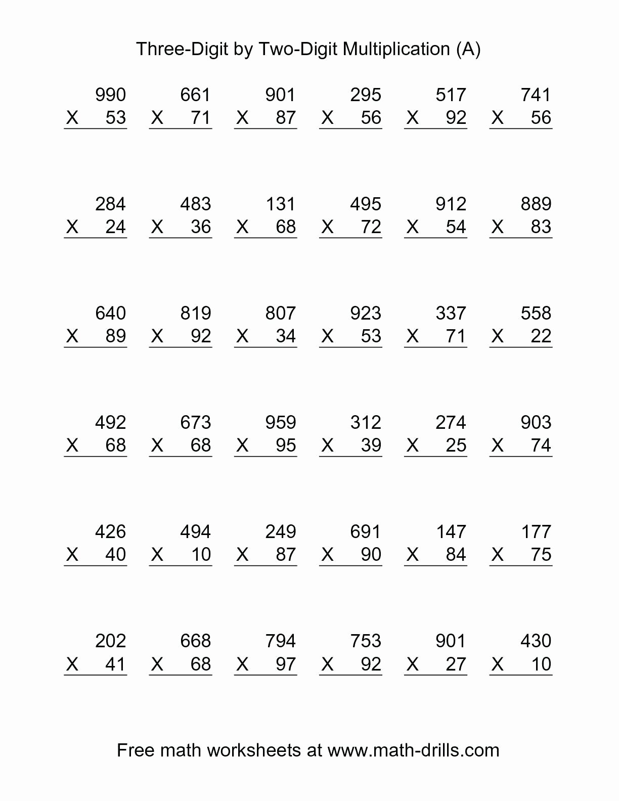 Multiplication Worksheets for Fifth Grade top 5th Grade Multiplication Worksheets for Printable In 2020