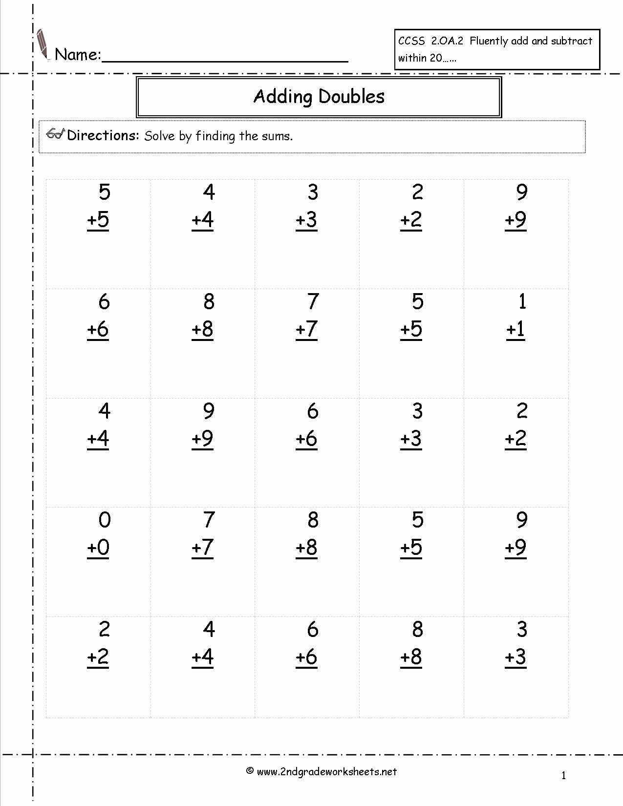 Multiplication Worksheets for First Grade New Doubles Facts Worksheet