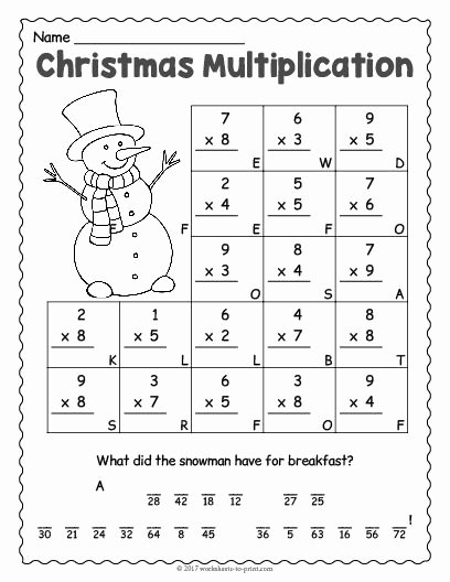 Multiplication Worksheets for First Graders New Free Printable Christmas Multiplication Worksheet Math