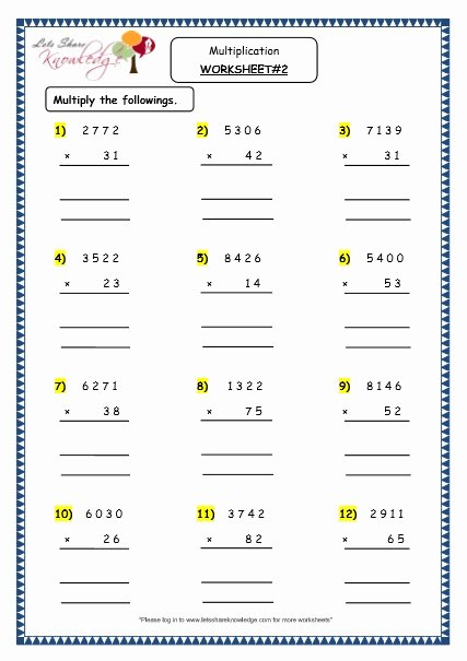 Multiplication Worksheets for Grade 5 New Grade 4 Maths Resources 1 6 1 Multiplication Of 4 Digit