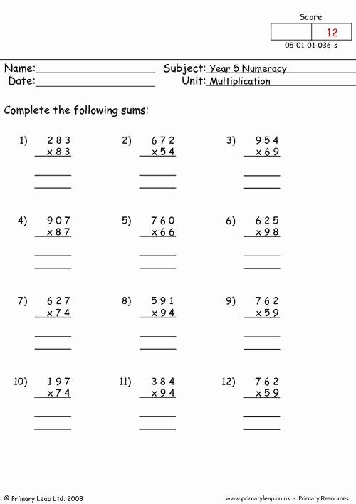 Multiplication Worksheets for Grade 5 Unique Numeracy Multiplication Worksheet Primaryleap Maths