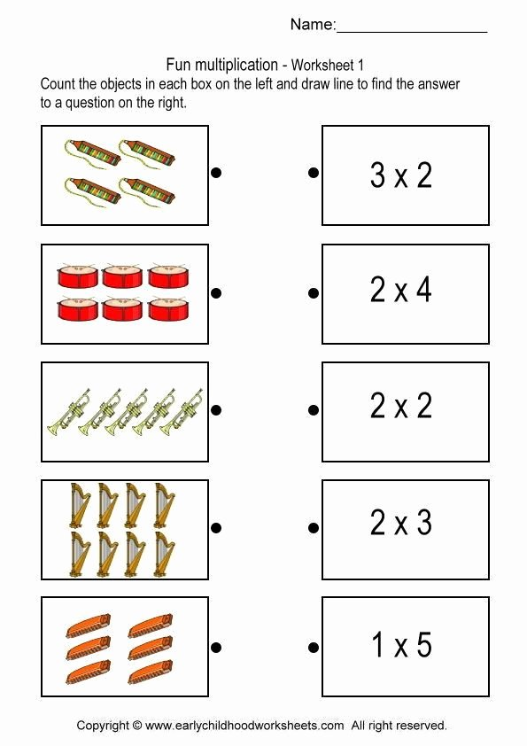 Multiplication Worksheets for Kindergarten New Matching with Multiplication Problems Worksheet 1