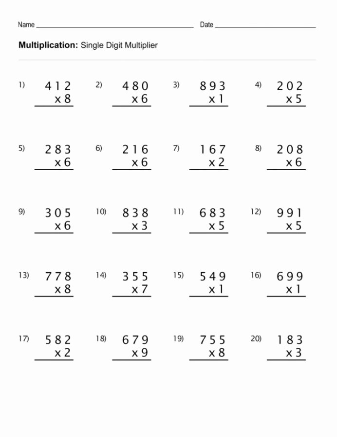 Multiplication Worksheets for Kindergarten Unique 4th Grade Multiplication Worksheets Math for Kids Test