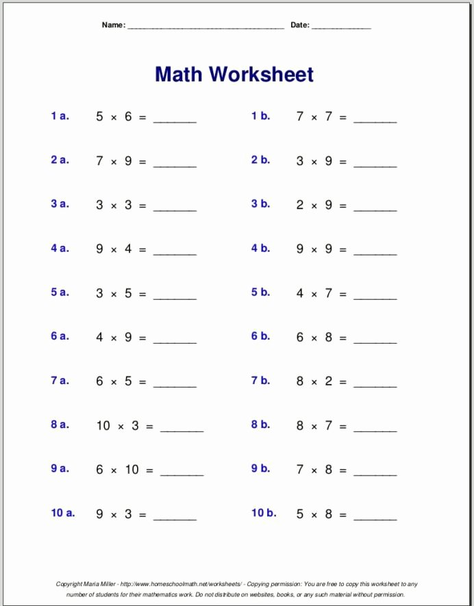 Multiplication Worksheets Free Grade 4 top Multiplication Worksheets Grade Free Math Maths and English