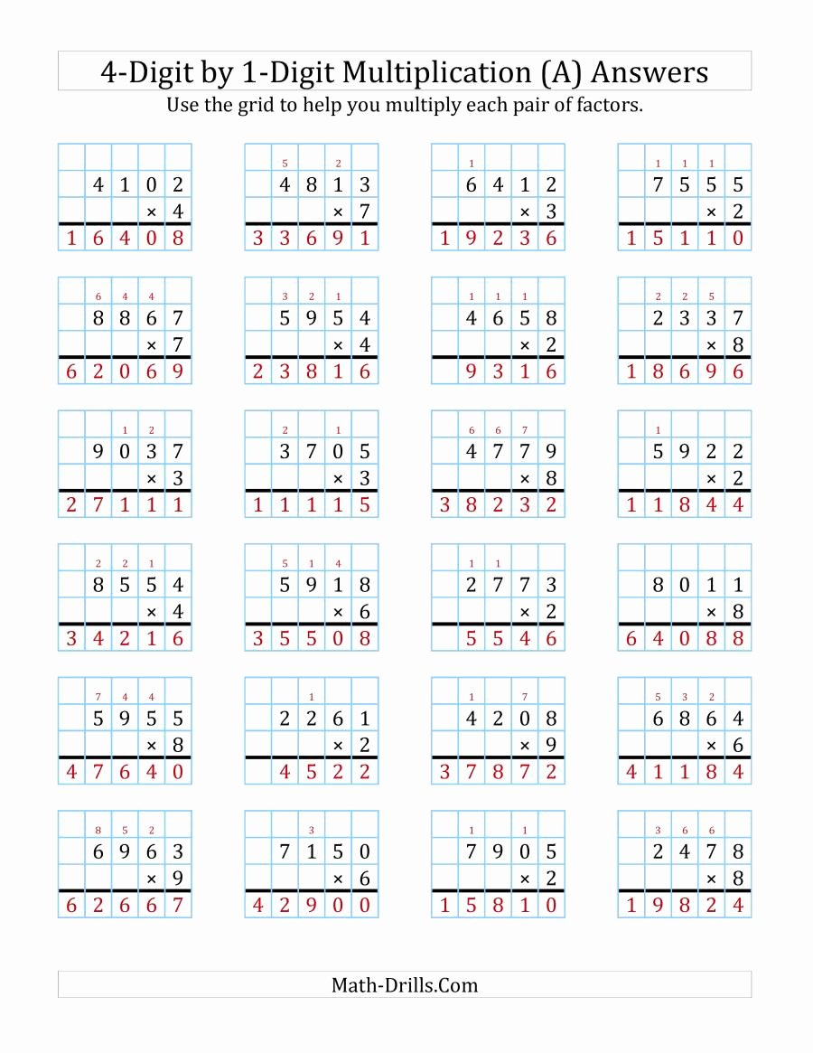 Multiplication Worksheets Grade 4 Math Drills top 4 Digit by 1 Digit Multiplication with Grid Support A