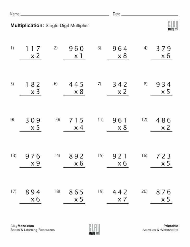 Multiplication Worksheets Grade 4 Printable Free Best Of Worksheet Free Multiplication Fact Worksheets Facts