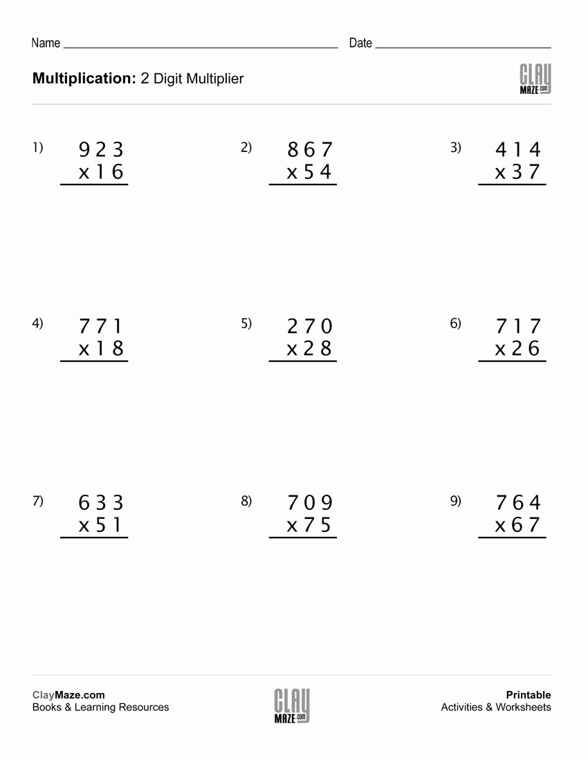 Multiplication Worksheets Grade 5 3 Digit by 2 Digit Inspirational Math Worksheet Multiplication with 2 Digit Multipliers