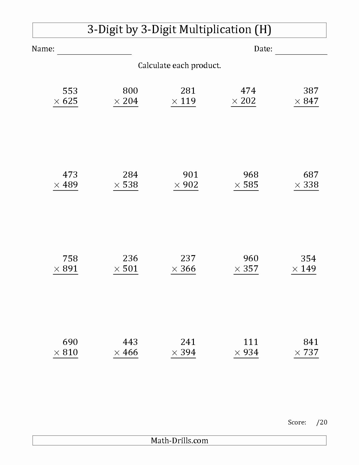 Multiplication Worksheets Grade 5 3 Digit by 2 Digit Unique the Multiplying 3 Digit by 3 Digit Numbers with Ma