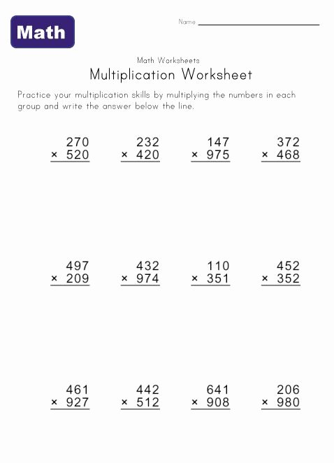 Multiplication Worksheets Grade 5 Unique Multiple Digit Multiplication Worksheets