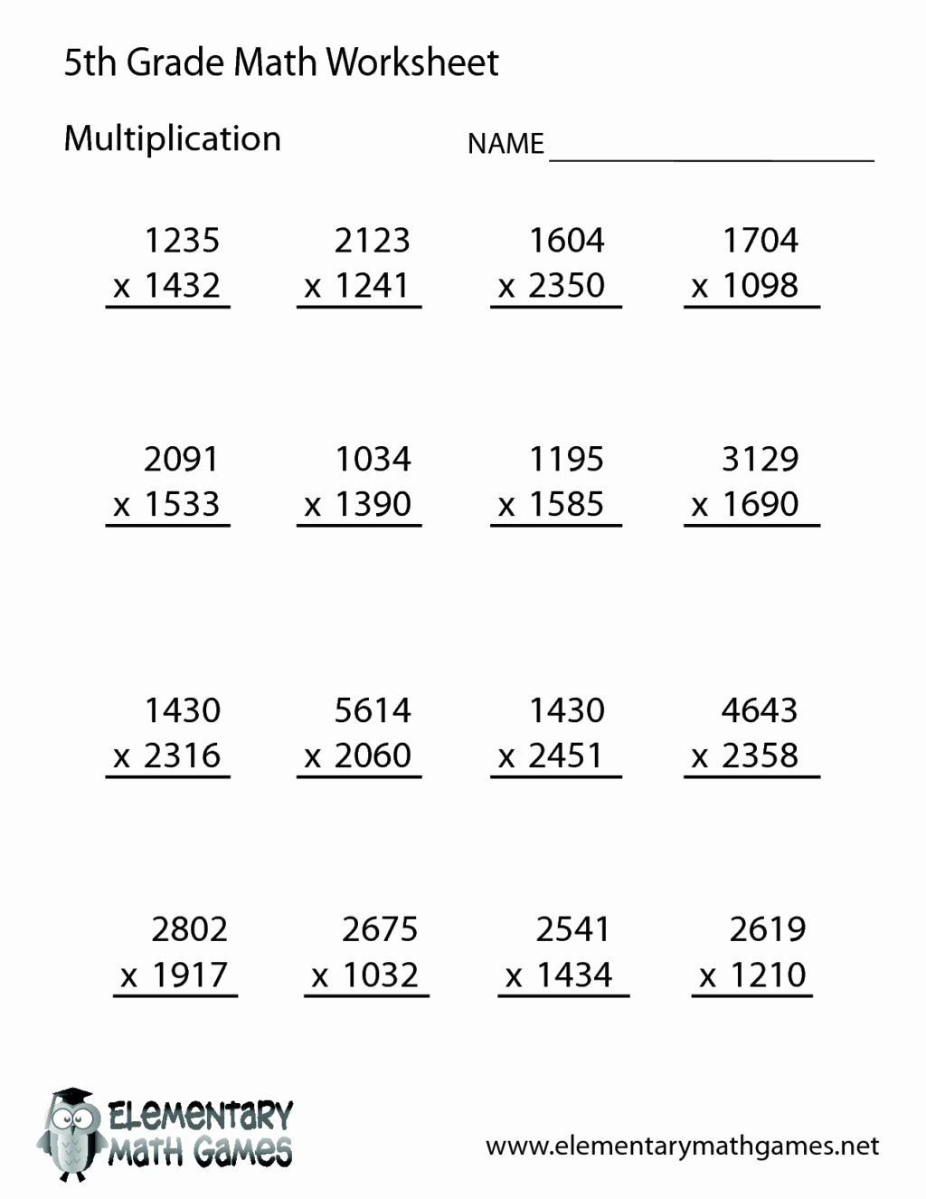 Multiplication Worksheets Grade 5 Unique Worksheet Grade Math Worksheets Printable Worksheet 5th