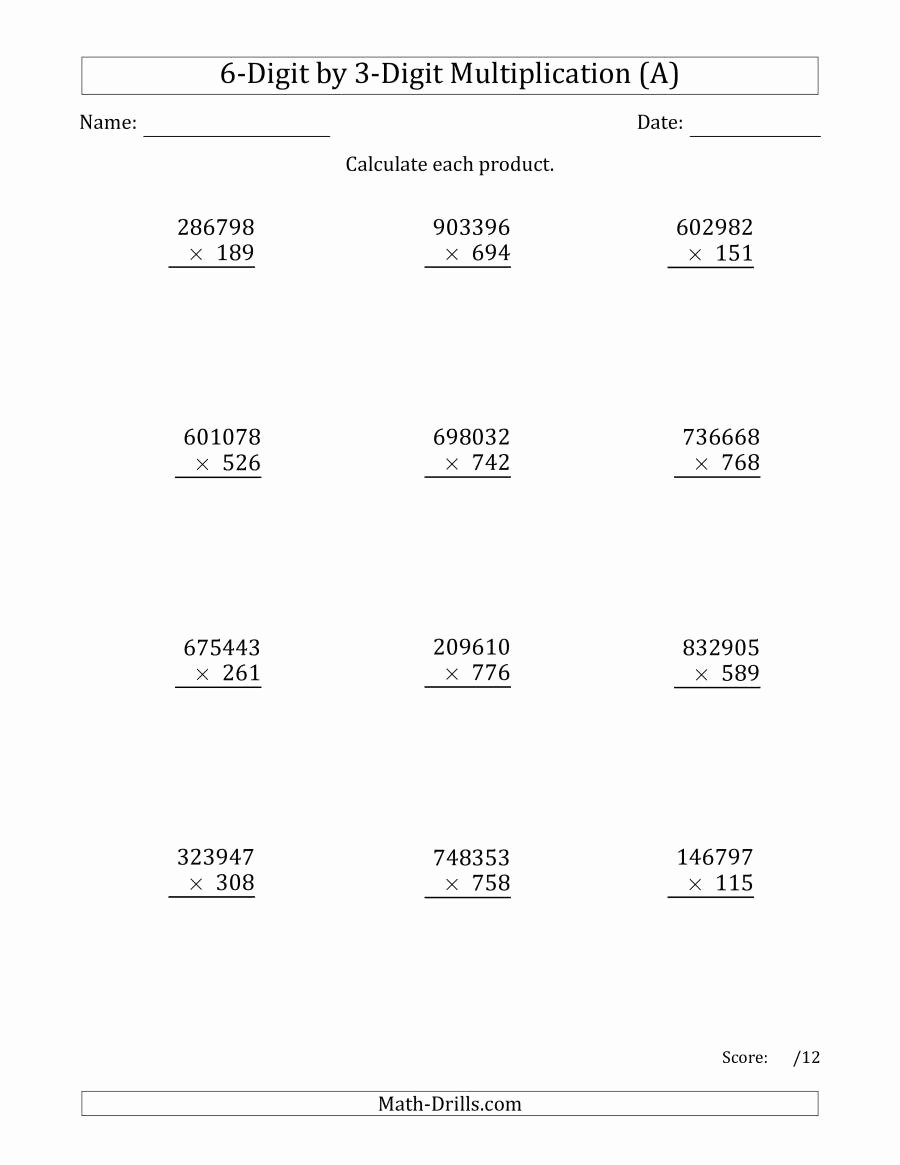 Multiplication Worksheets Grade 6 top Multiplying 6 Digit by 3 Digit Numbers A