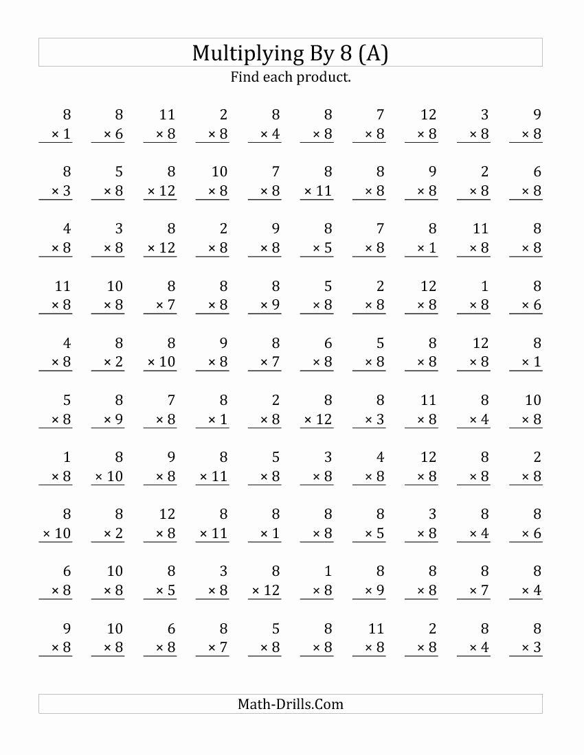 Multiplication Worksheets Grade 8 New Multiplying 1 to 12 by 8 All Multiplication Worksheet