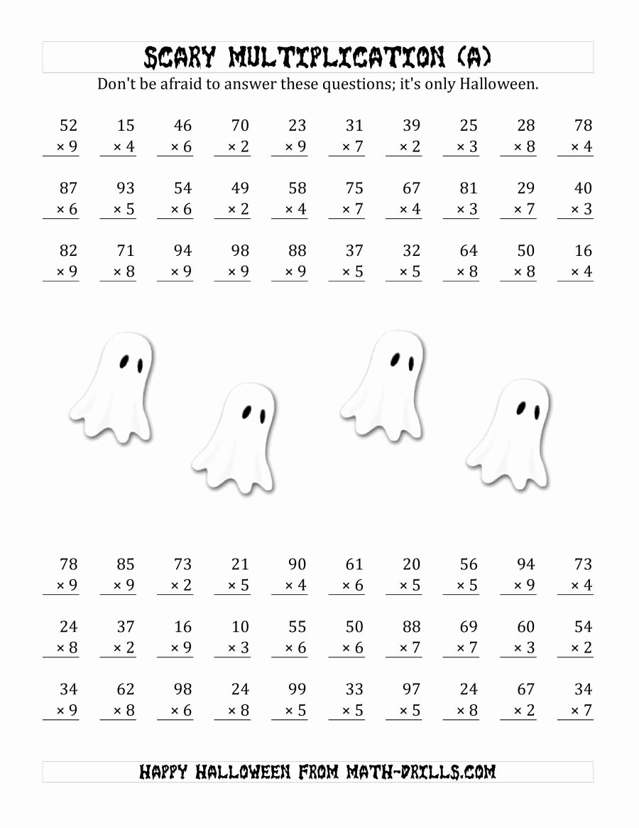 Multiplication Worksheets Halloween Inspirational Scary Multiplication 2 Digit by 1 Digit A