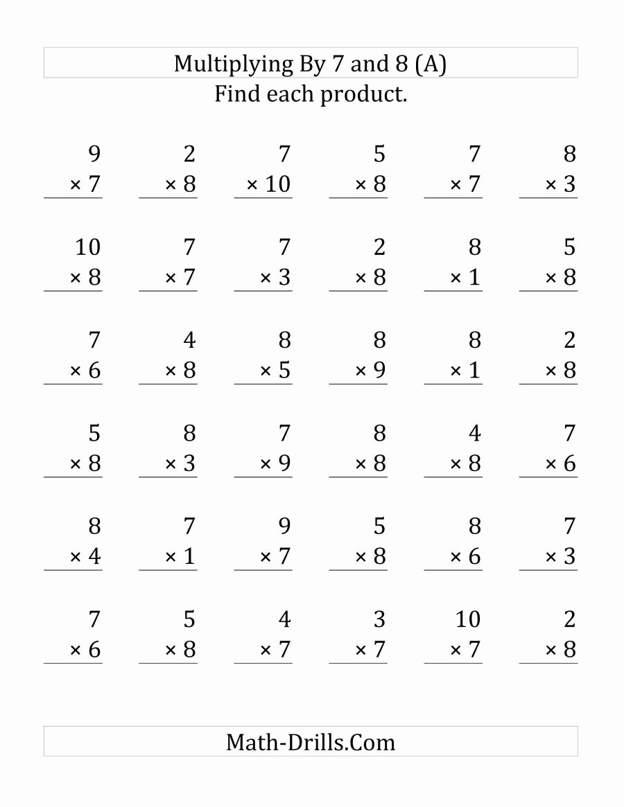 Multiplication Worksheets Math Drills New Multiplying 1 to 10 by 7 and 8 36 Questions Per Page A