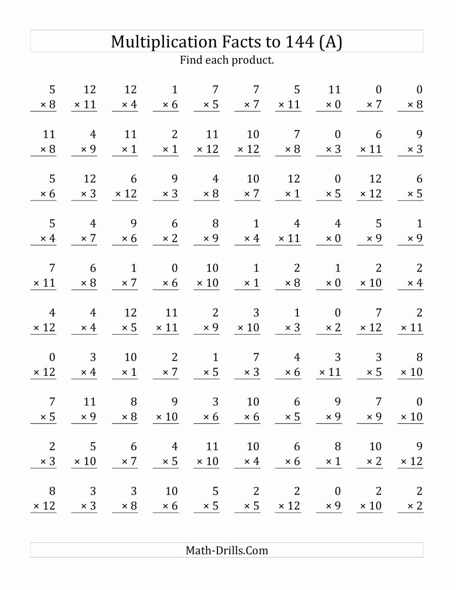 Multiplication Worksheets Math Drills Unique Multiplication Facts to 144 Including Zeros A