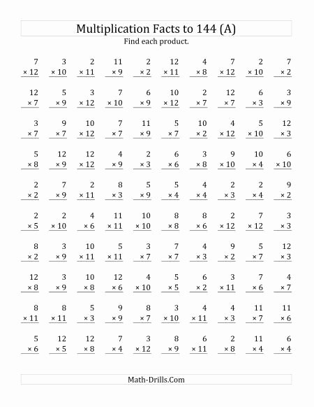 Multiplication Worksheets Print New Multiplication Facts to 144 No 0 S or 1 S