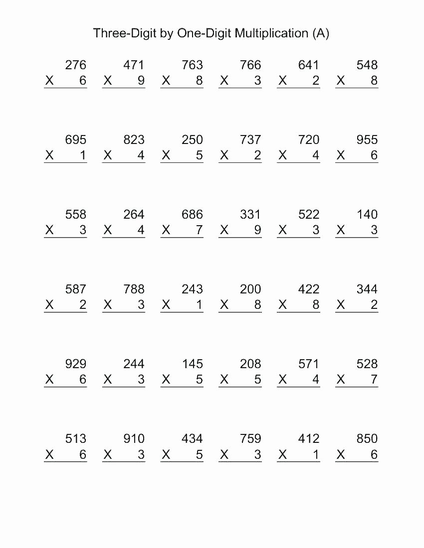 Multiplication Worksheets Printable 4th Grade Best Of Worksheet Printable Math Worksheets for 4th Grade Division