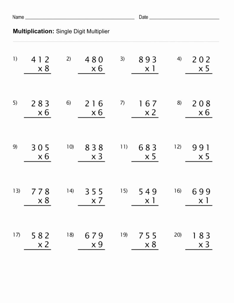 Multiplication Worksheets Printable Free Unique Worksheet 4th Grade Math Multiplication Worksheets