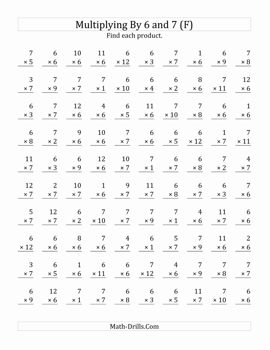 Multiplication Worksheets Printable top the Multiplying 1 to 12 by 6 and 7 F Math Worksheet