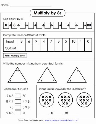 Multiplication Worksheets Super Teacher Fresh Multiplication Worksheets Basic Facts with 8 as A Factor