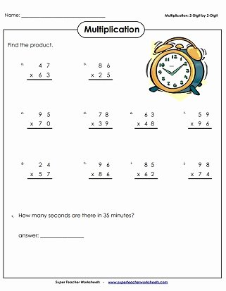 Multiplication Worksheets Super Teacher Unique Multiplication 2 Digits Times 2 Digits