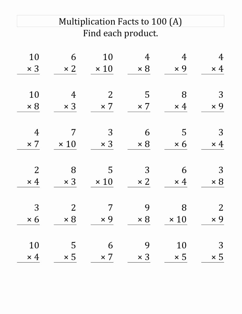 Multiplication Worksheets Third Grade New 3rd Grade Multiplication Worksheets Facts Third Phenomenal