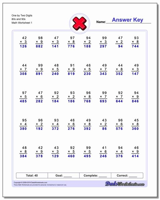 Multiplication Worksheets Two Digit by One Digit Awesome Multiple Digit