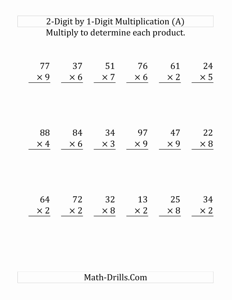 Multiplication Worksheets Two Digit by One Digit Awesome Multiplying A 2 Digit Number by A 1 Digit Number