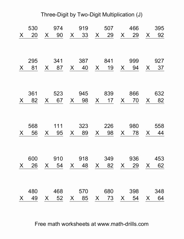Multiplication Worksheets Two Digit Fresh 6th Grade Multiplication Worksheets Integers Math Three