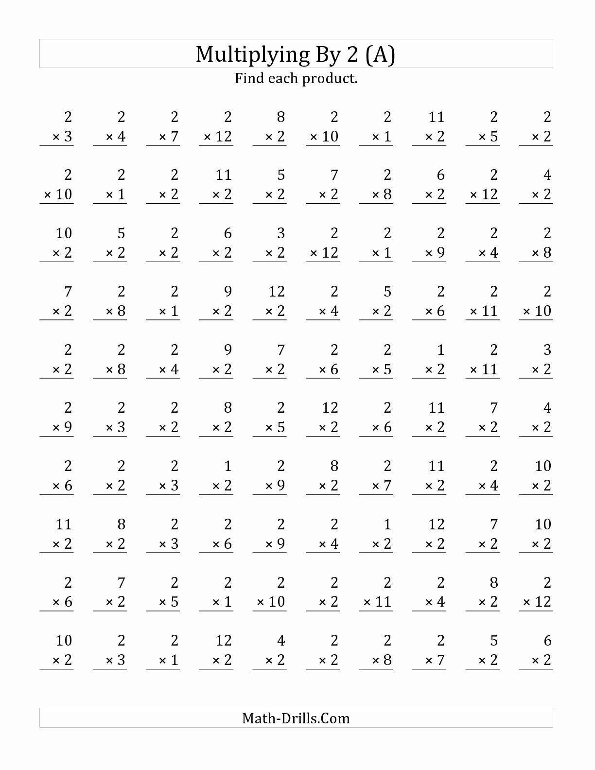 Multiplication Worksheets Up to 12 Lovely the Multiplying 1 to 12 by 2 A Math Worksheet From the
