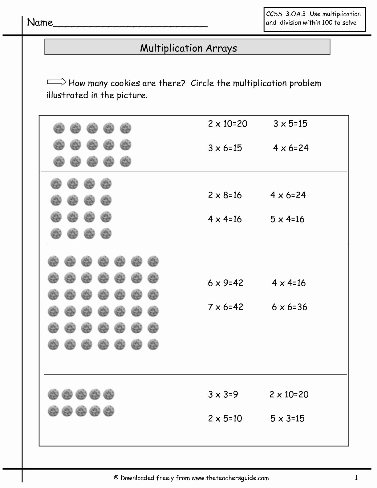 Multiplication Worksheets Using Arrays Awesome Multiplication Array Worksheets From the Teacher S Guide