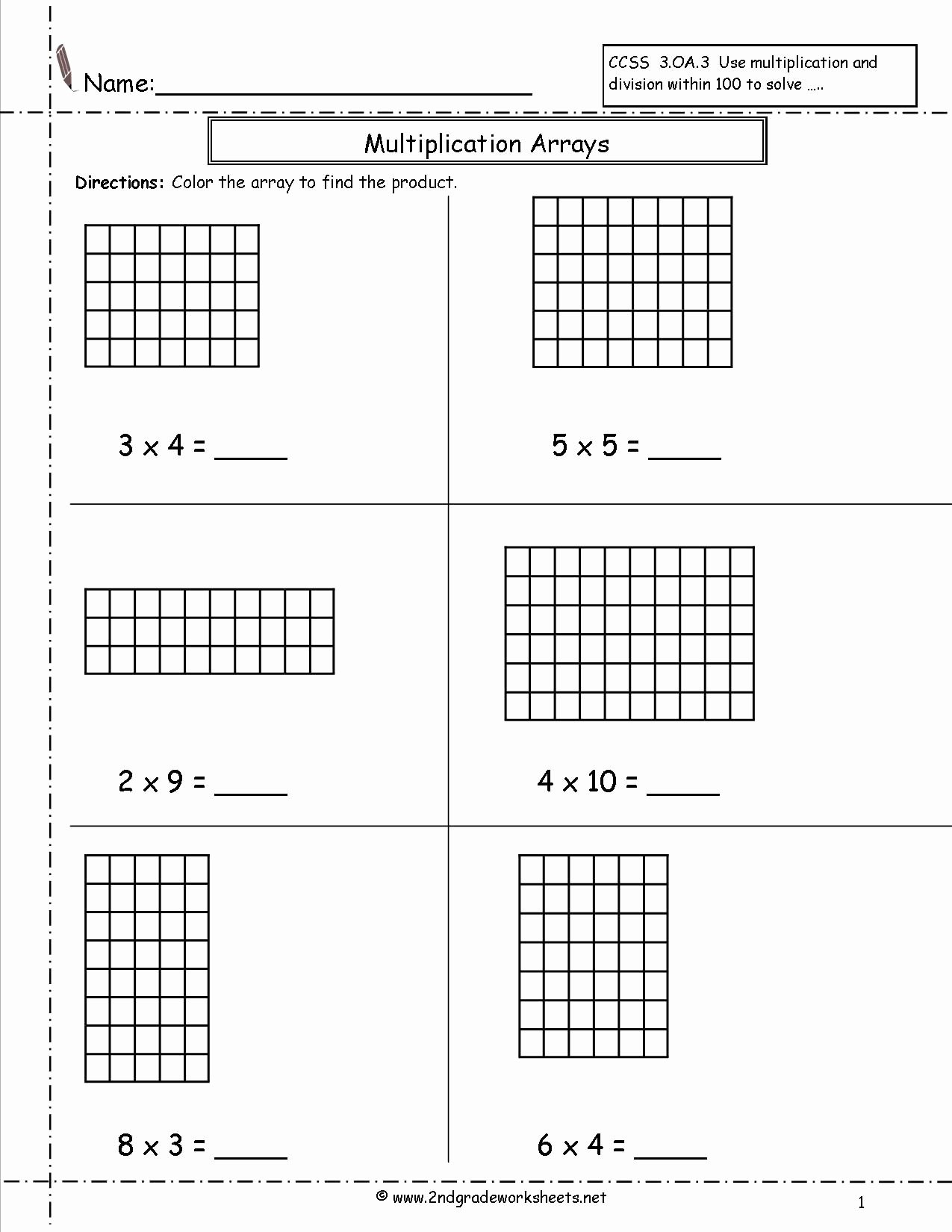 Multiplication Worksheets Using Arrays Awesome Multiplication Arrays Worksheets