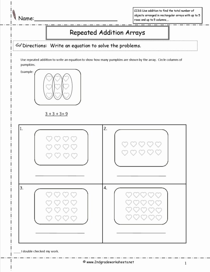 Multiplication Worksheets Using Arrays Best Of Oa Worksheets Arrays Worksheet 2nd Grade Mon Core Math