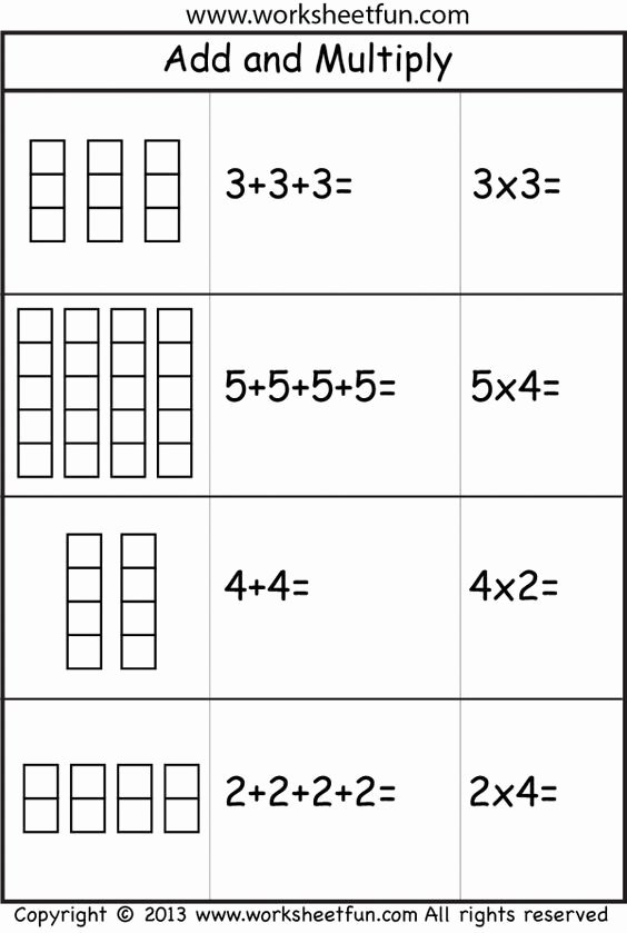 Multiplication Worksheets Using Arrays Unique Multiplication – Add and Multiply – Repeated Addition Two