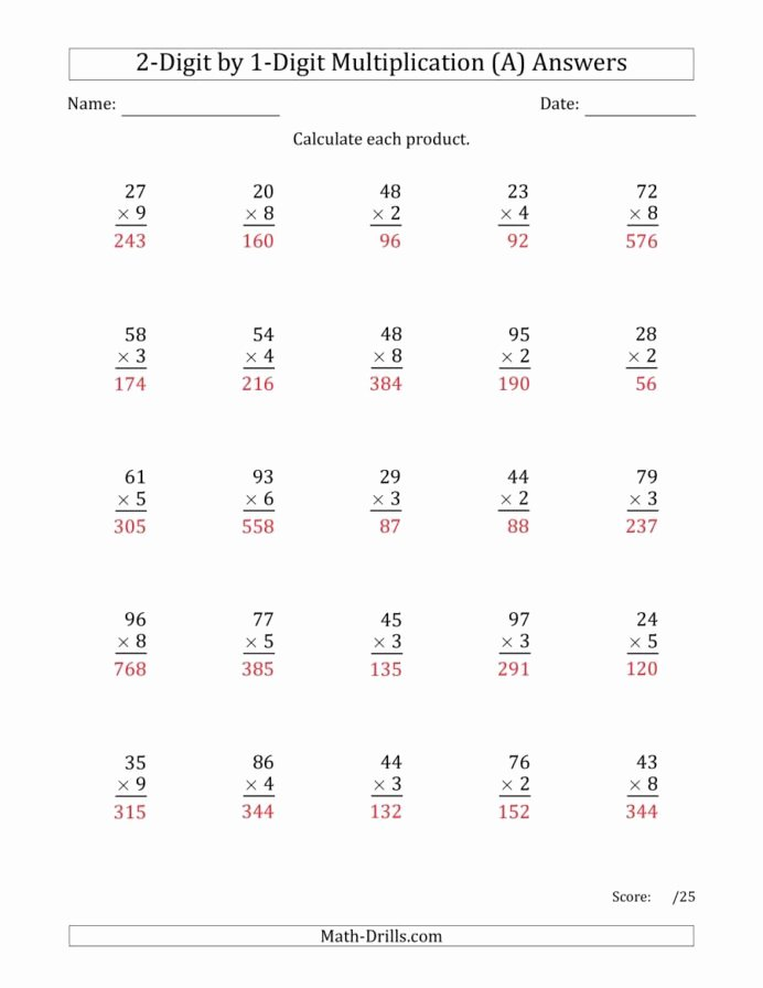 Multiplication Worksheets with Answers Unique Multiplying Digit by Numbers Two Multiplication Worksheets