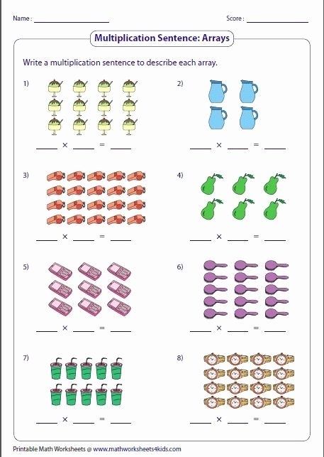 Multiplication Worksheets with Arrays Inspirational Multiplication Models Worksheets In 2020