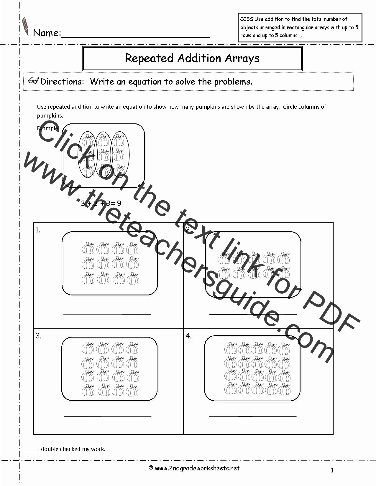 Multiplication Worksheets with Arrays top Ccss 2 Oa 4 Worksheets