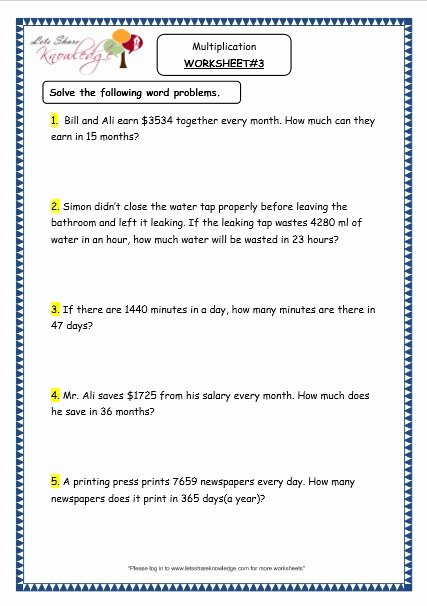 Multiplication Worksheets Word Problems New Grade 4 Maths Resources 1 6 3 Multiplication Word Problems