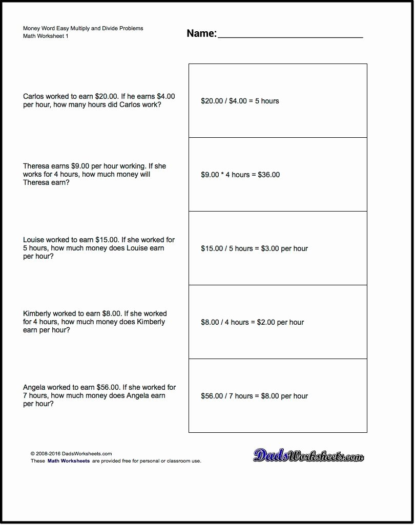 Multiplication Worksheets Word Problems Unique Multiplication Worksheet and Division Worksheet Money Word