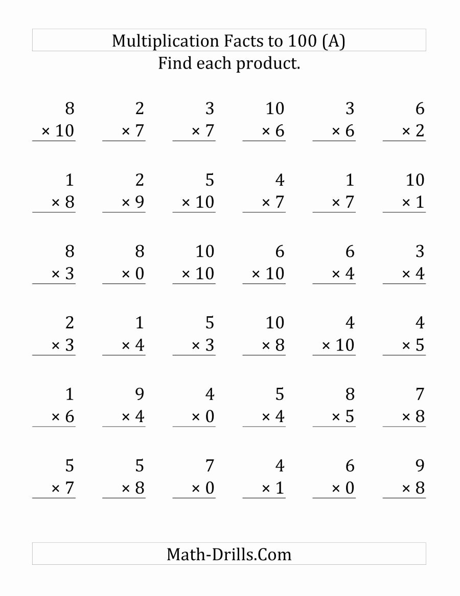 Multiplication Worksheets X6 Best Of Multiplication Facts to 100 Including Zeros 36 Questions
