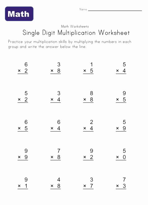 One Digit Multiplication Worksheets top Single Digit Multiplication Worksheets