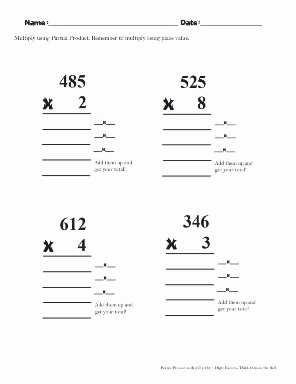 """Partial Product Multiplication Worksheets top 4 4d Teaching Partial Product """"color It Up"""" with Images"""