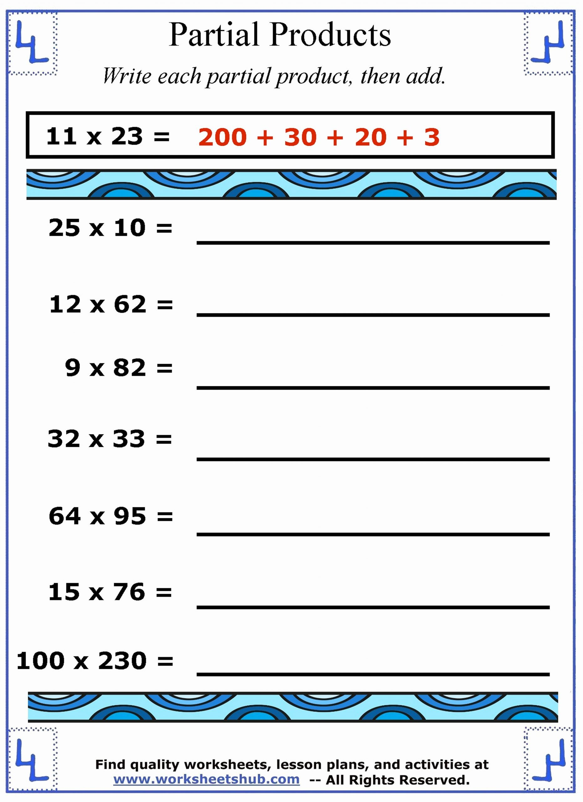 Partial Products Multiplication Worksheets New Partial Products Multiplication Strategies