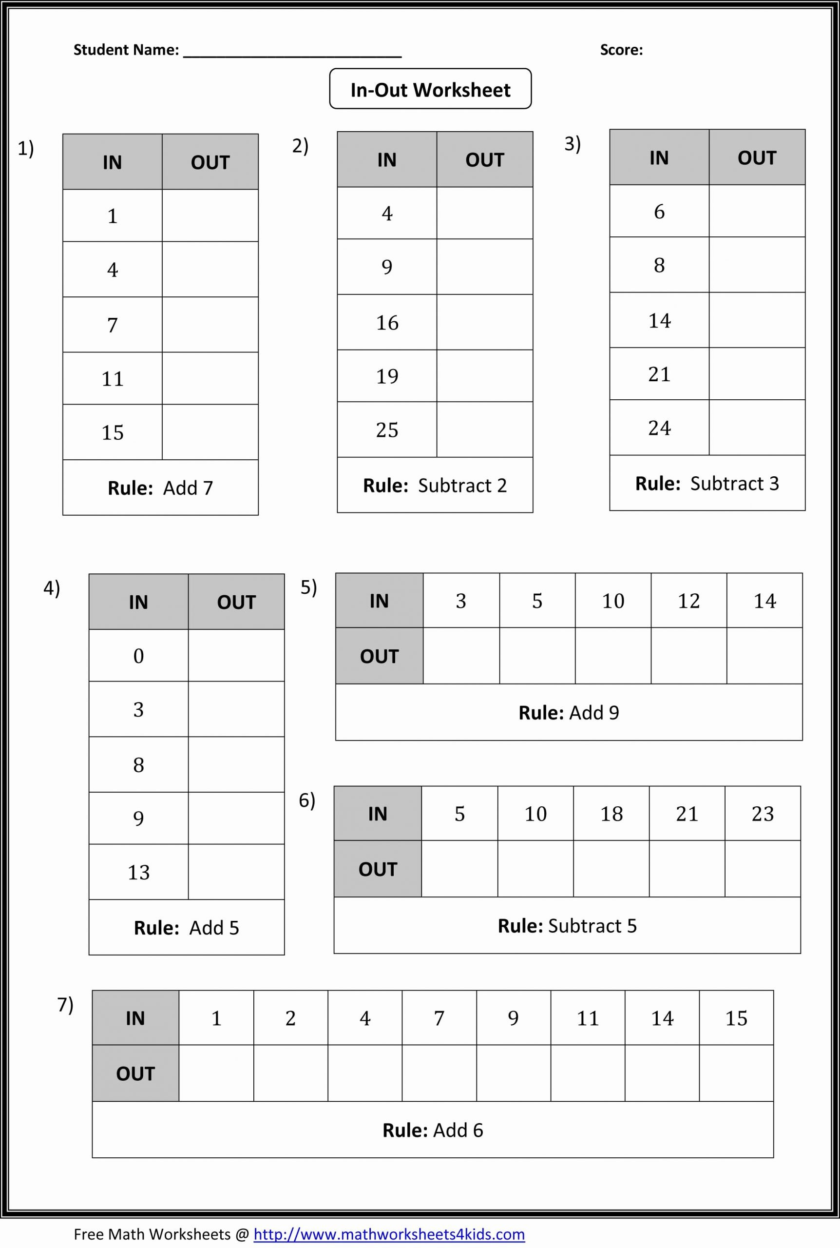 Patterns In Multiplication Worksheets Awesome In Out Boxes Worksheets Include Addition Subtraction