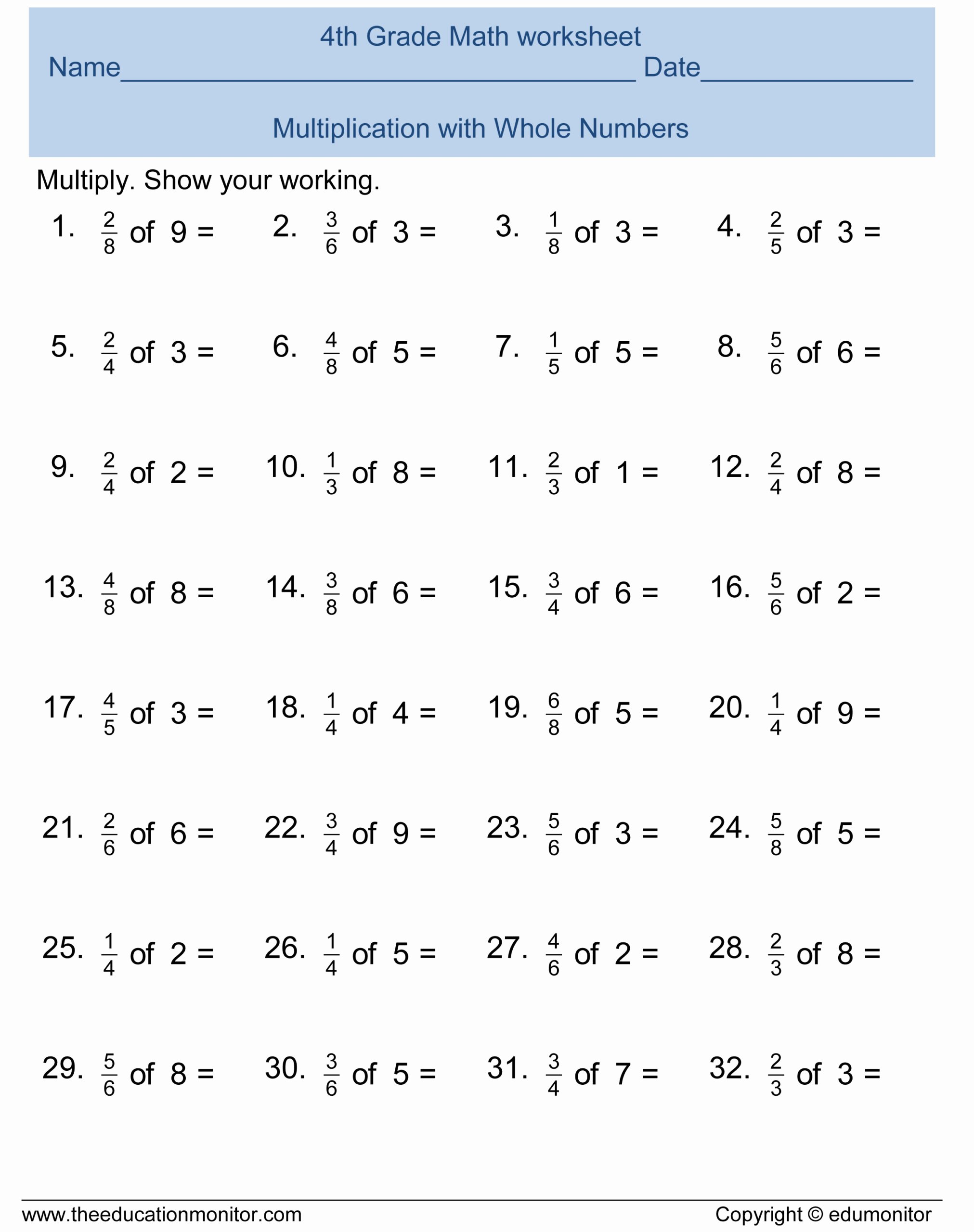 Printable 4th Grade Multiplication Worksheets Fresh Free 4th Grade Fractions Math Worksheets and Printables